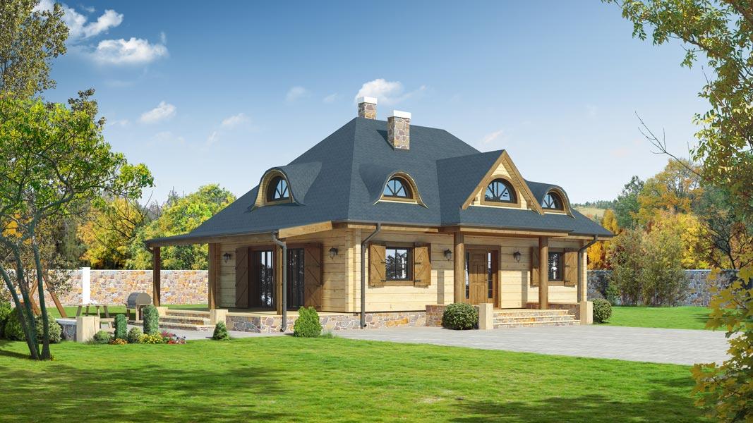 Проект дома с мансардой и террасой.  Зарегистрируйтесь чтобы добавить в избранные.